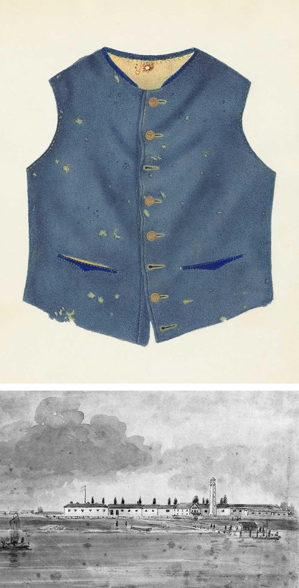 Top: Confederate Uniform, by Annie B. Johnston, c. 1938. Bottom: Fort Monroe, Virginia, 1860.
