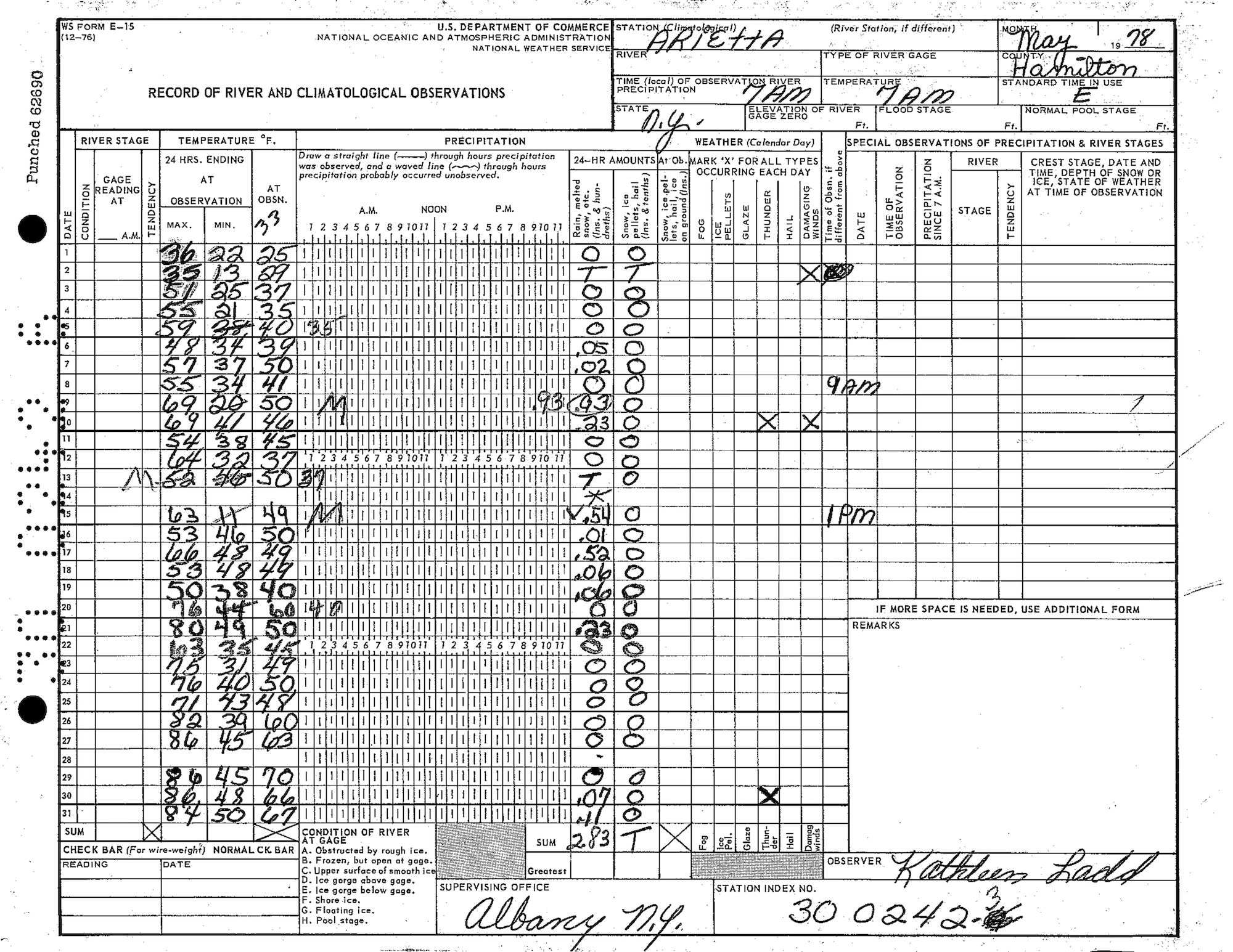 A table of weather observations from May 1978 in Arietta, New York.