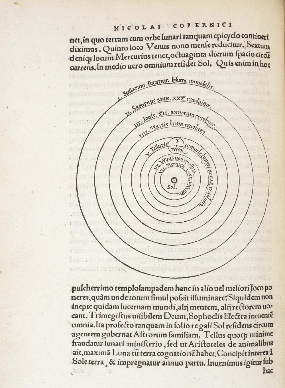 A page from On the Revolutions of the Heavenly Spheres, by Nicolaus Copernicus, c. 1543. British Library.