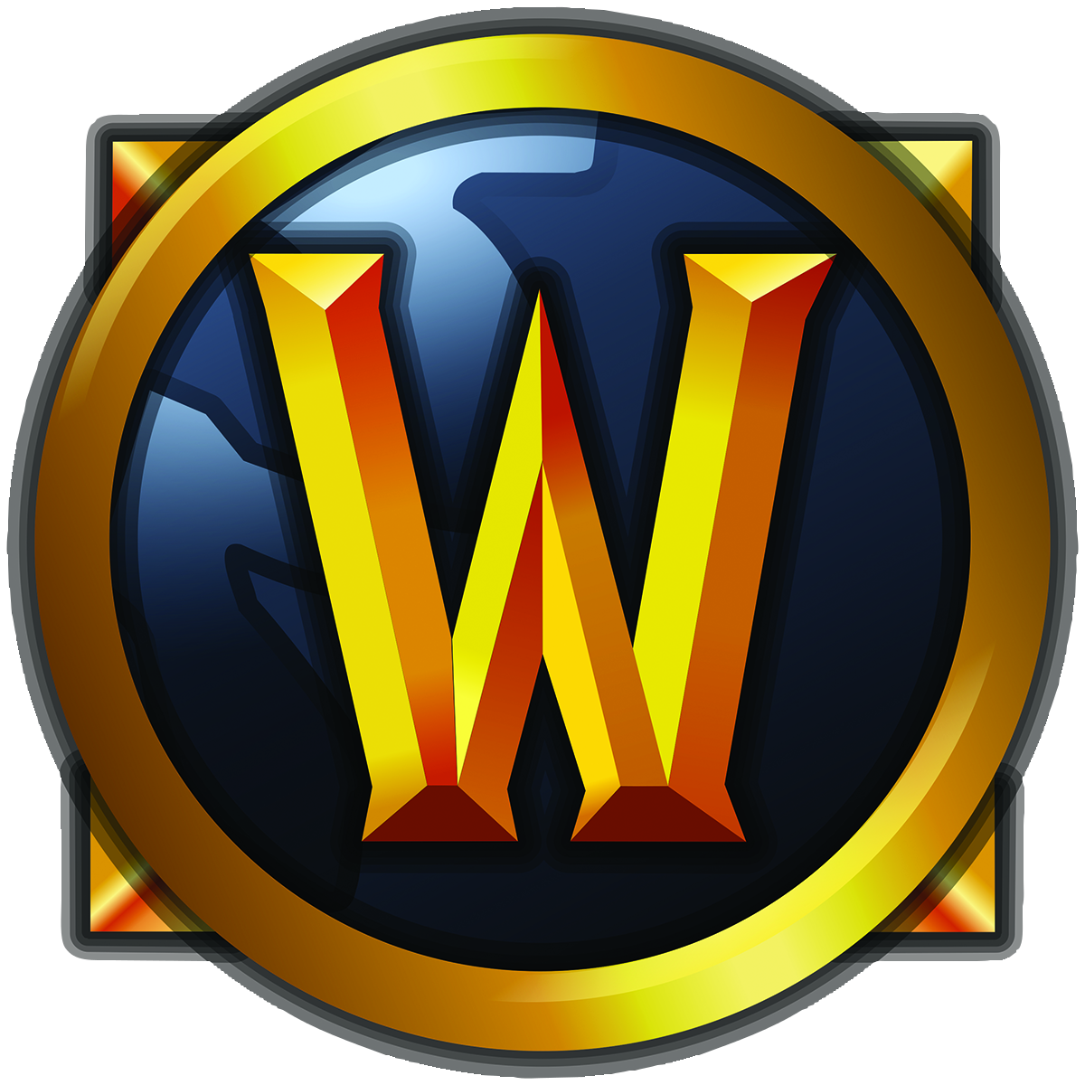 The World of Warcraft logo: a W inside a circle in front of a square