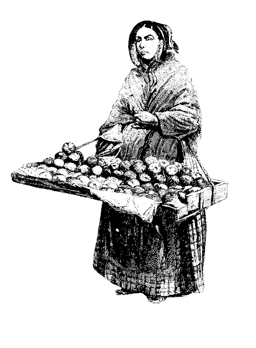 a black and white line drawing of a woman holding a tray.
