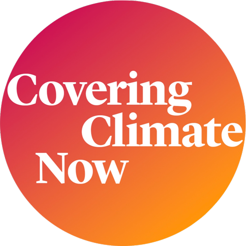 A circular logo with the words Covering Climate Now
