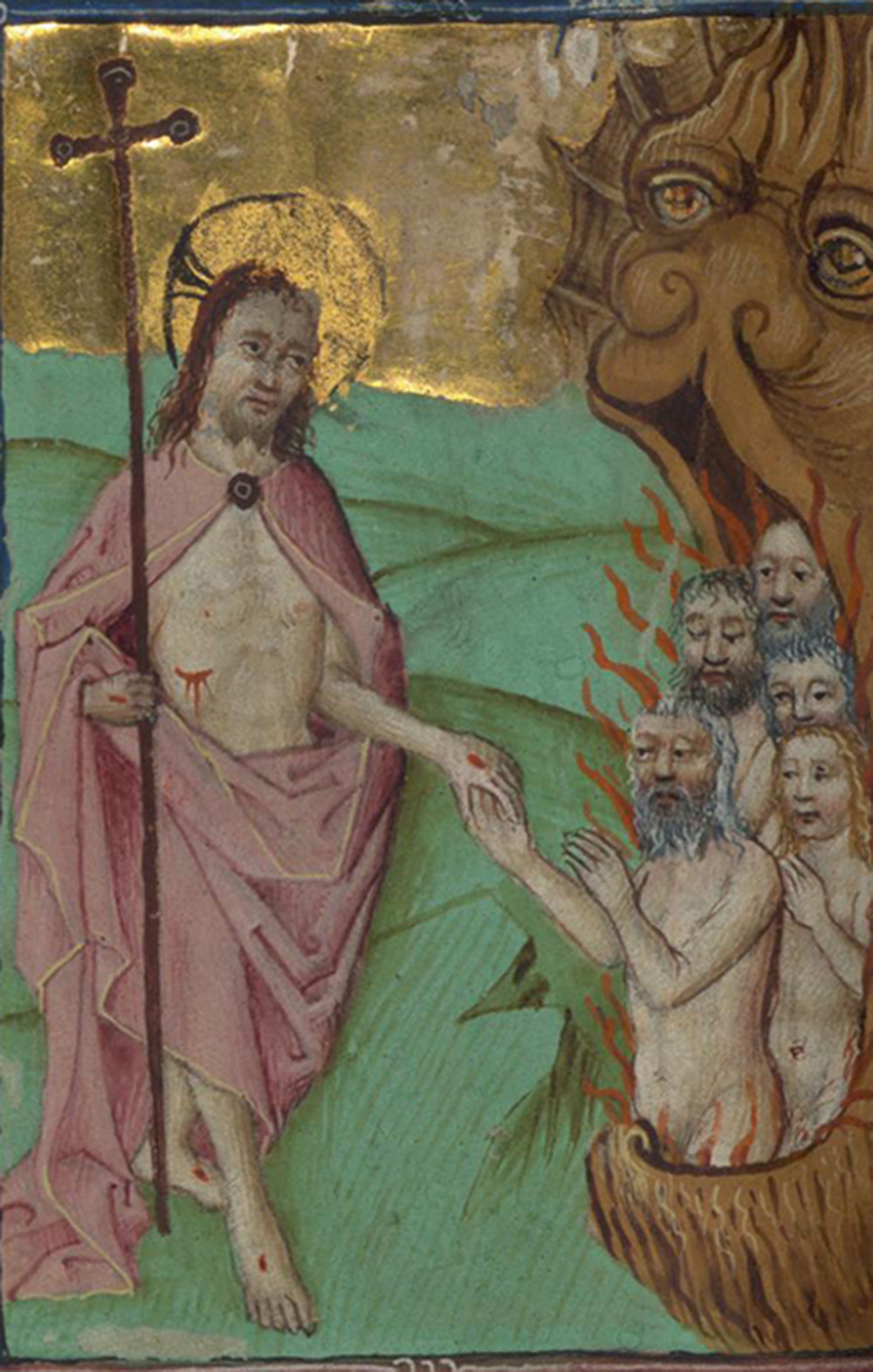 """""""Harrowing of Hell"""" (detail), Masters of the Zwolle Bible, c. 1470. The Walters Art Museum."""