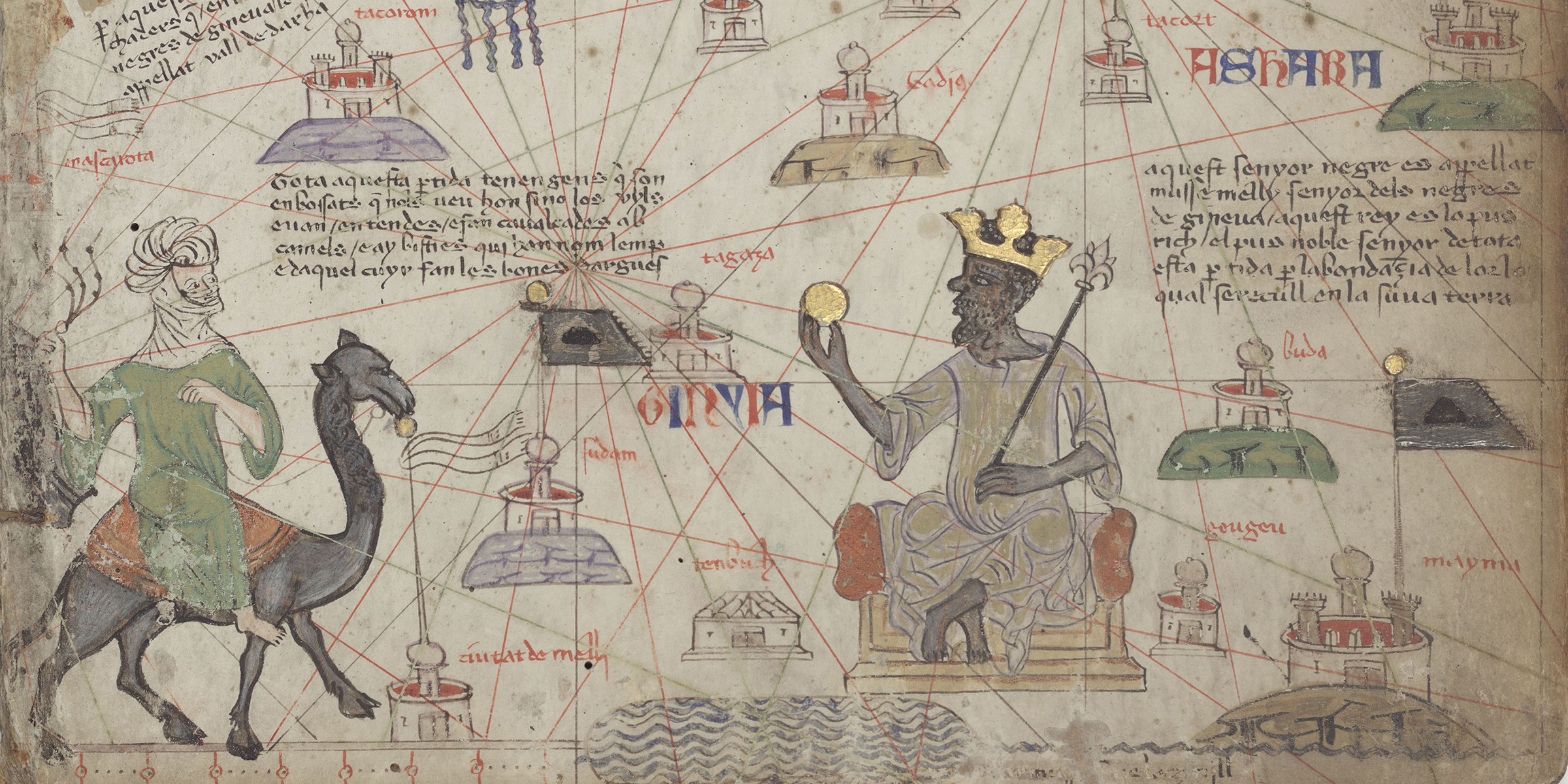 Mansa Musa of Mali holding a gold nugget, detail from Atlas of Maritime Charts, by Abraham Cresques, c. 1375. Bibliothèque Nationale de France, Department of Manuscripts.