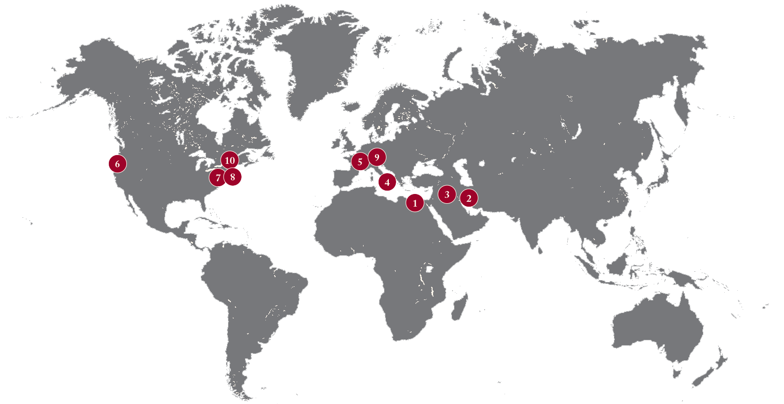World map with numbers indicating the locations of the events described below