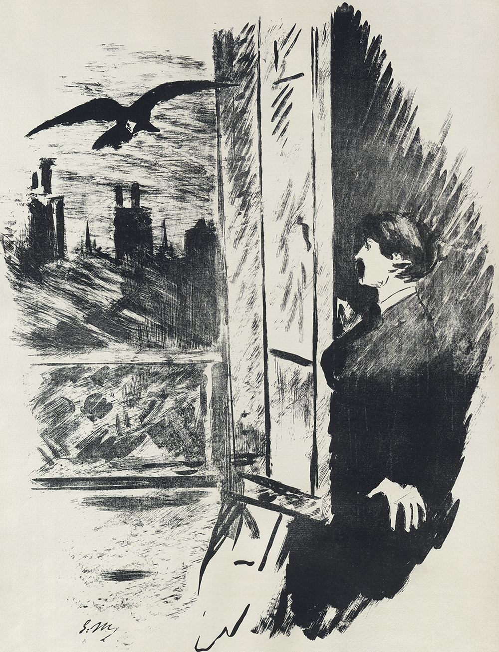 """Illustration for a French translation by Stéphane Mallarmé of Edgar Allan Poe's """"The Raven,"""" by Édouard Manet, 1875. Wikimedia Commons, Library of Congress."""