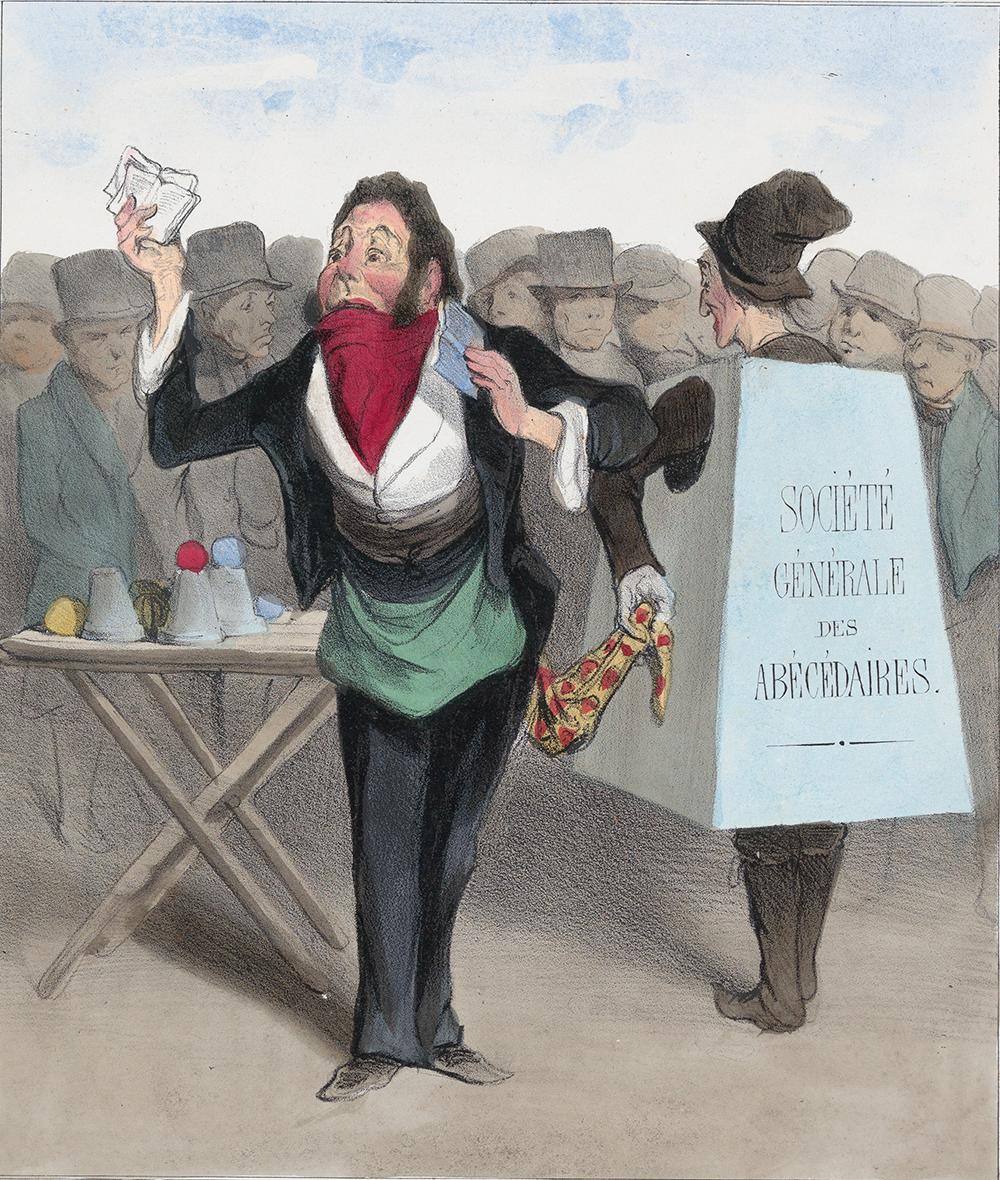 Robert Macaire, bookseller, from Caricaturana, published in Les Robert Macaires, by Honoré Daumier and Charles Philipon, 1838. The Metropolitan Museum of Art, Gift of Edwin De T. Bechtel, 1953.