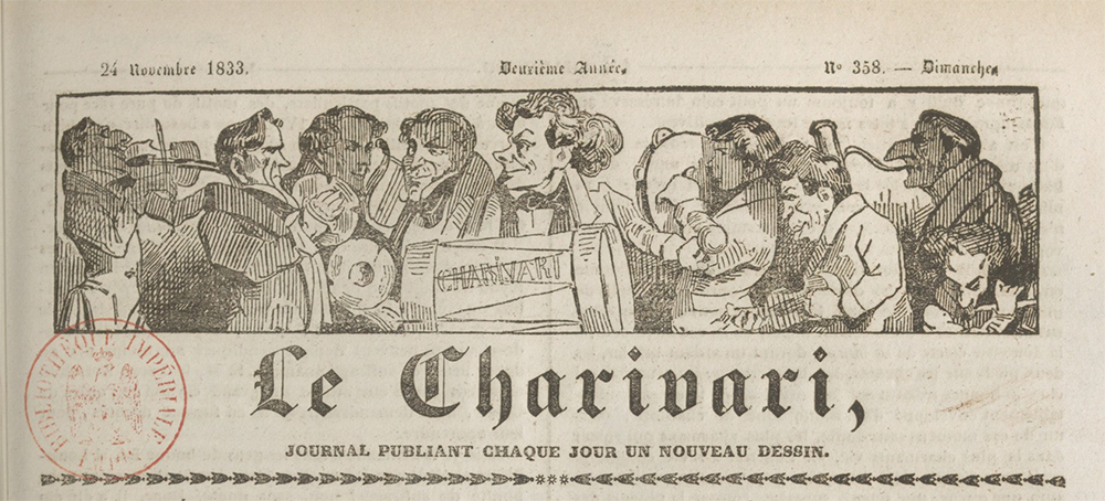 Masthead for Le Charivari, by Honoré Daumier, November 24, 1833. Bibliothèque nationale de France.