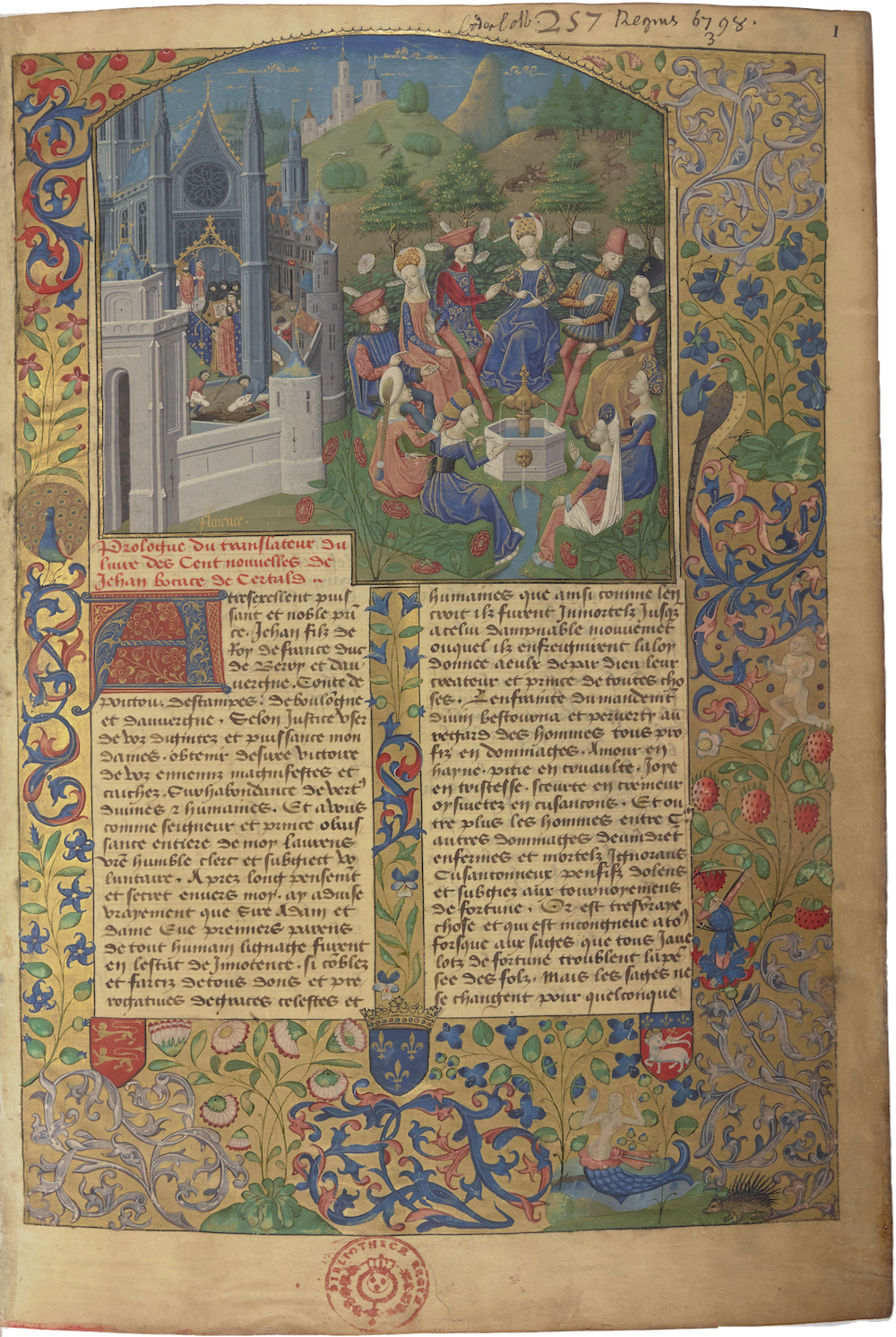 A highly decorated manuscript page from a copy of the Decameron. An illustration shows the ten friends gathered together outside around a small fountain.
