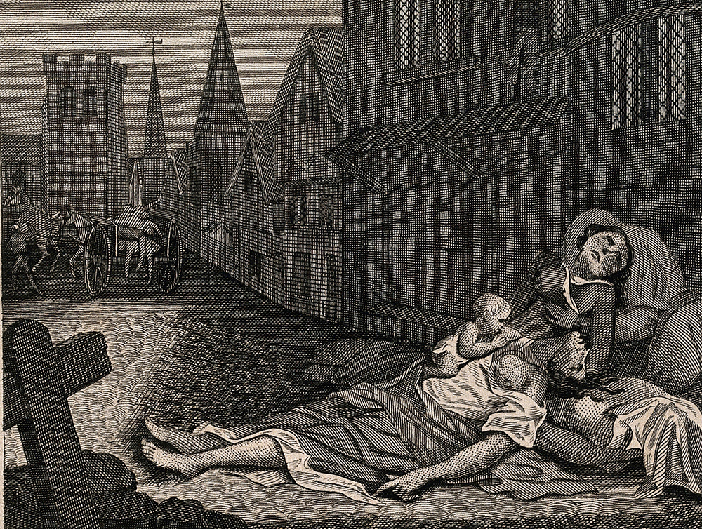 Two women lying dead in a London street during the Great Plague, one with a child who is still alive, etching after Robert Pollard. Wellcome Collection.