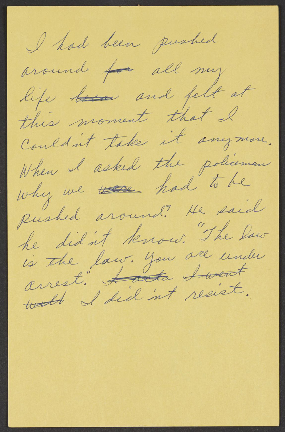 Account of Rosa Parks' arrest, c. 1958. Library of Congress, Prints and Photographs Division.