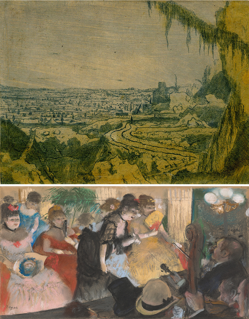 Top: Distant View with a Mossy Branch, by Hercules Segers, c. 1610. Bottom: Café-Concert, by Edgar Degas, c. 1876.