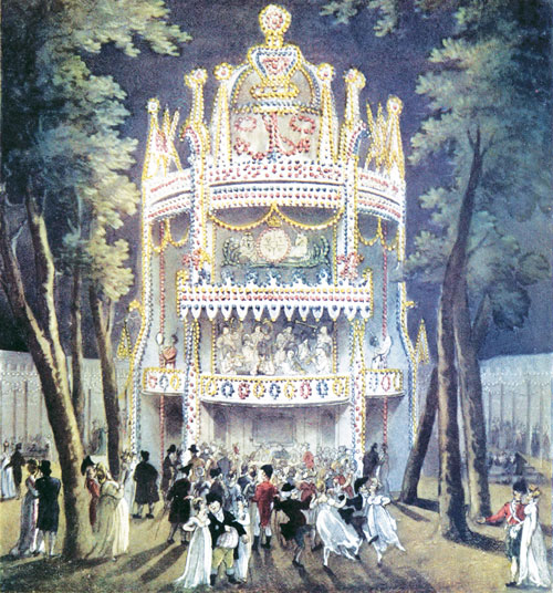 A painting of a large white structure at night, glowing with lights, surrounded by trees and grass. People dressed in fancy evening clothes crowd around the doors to get in.