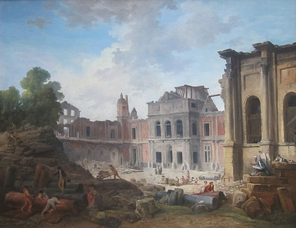 Demolition of the Château of Meudon, by Hubert Robert, 1806. J. Paul Getty Museum.