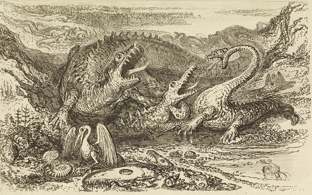 "Illustration from ""The Wonders of Geology"" featuring an iguanodon, a megalosaurus, and a pterodactyl, by John Martin, 1838. The British Museum, Prints and Drawings."