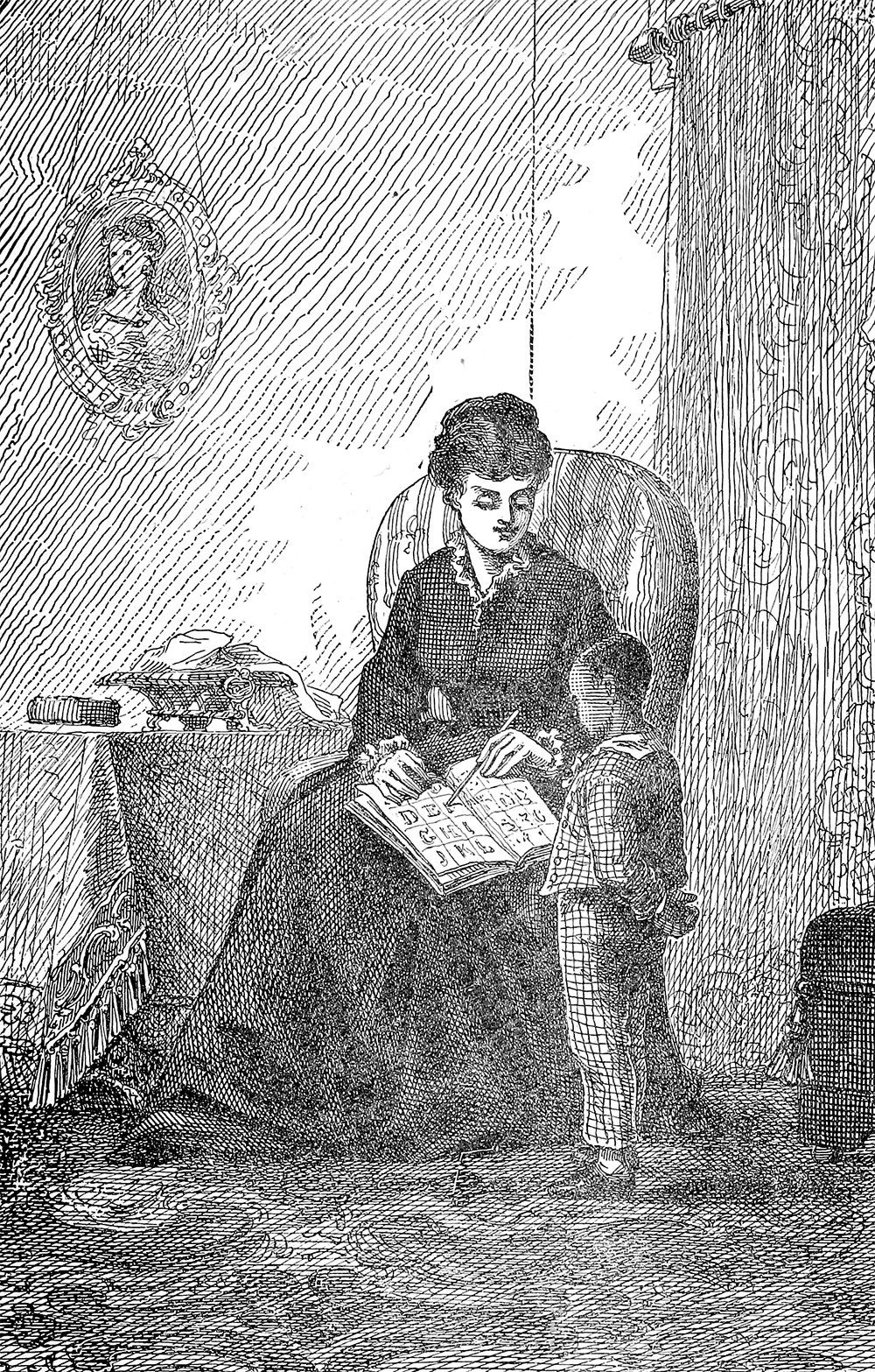 """""""Mrs. Auld Teaching Him to Read,"""" from Life and Times of Frederick Douglass, revised edition, 1892. Internet Archive."""