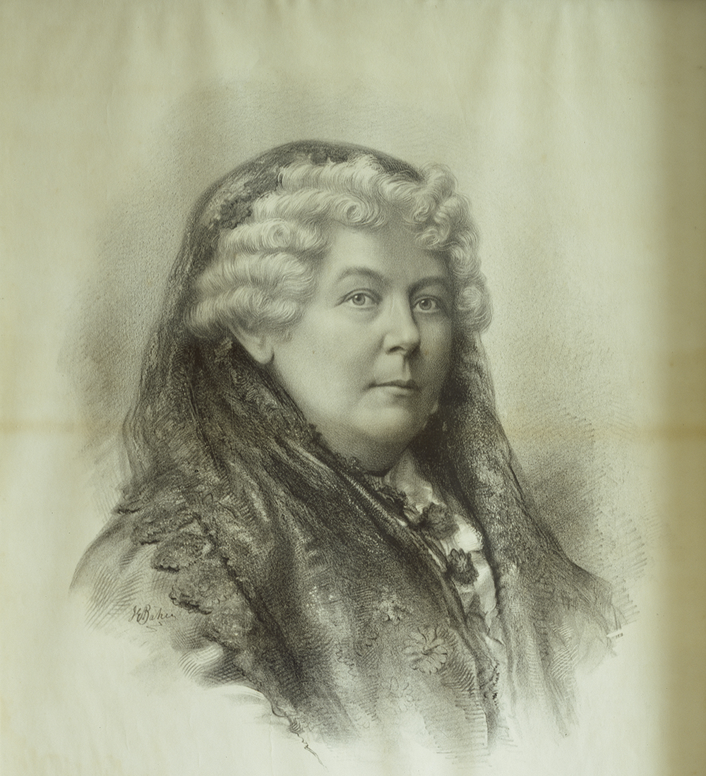 Drawing of Elizabeth Cady Stanton, located at the Frederick Douglass home in Washington, DC. Library of Congress, Prints and Photographs Division.