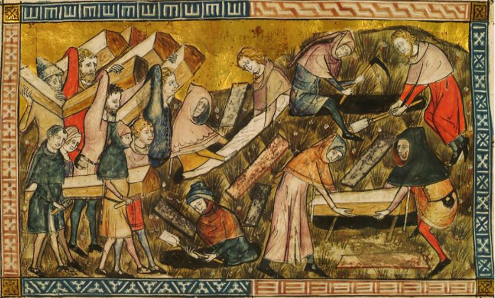 The People of Tournai Bury Victims of the Black Death, by Pierart dou Tielt, c. 1353.