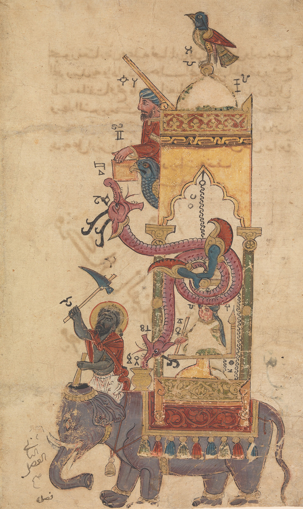 """The Elephant Clock,"" folio from Book of the Knowledge of Ingenious Mechanical Device, illustration by al-Jazariby Farrukh ibn ʿAbd al-Latif."