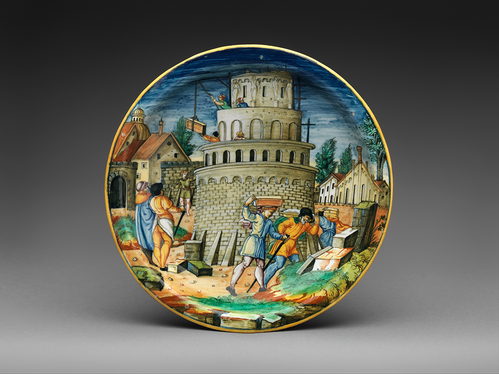 Plate with the building of the Tower of Babel, probably workshop of Guido Durantino, c. 1550.
