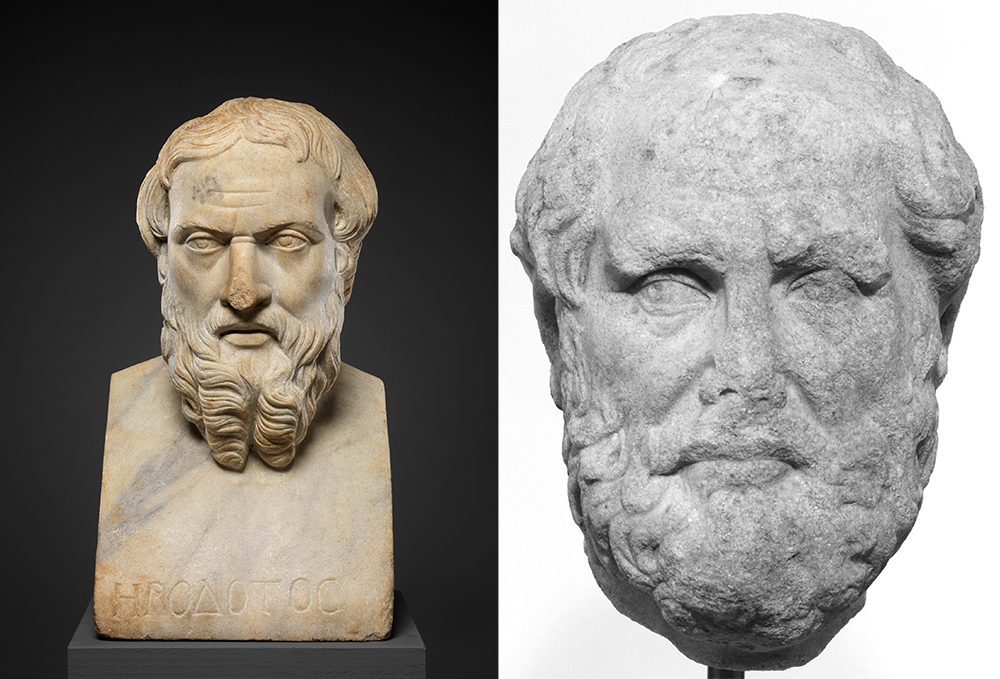 Left: Marble bust of Herodotus, Roman, second century. Right: Portrait head of Thucydides, Roman, second century.
