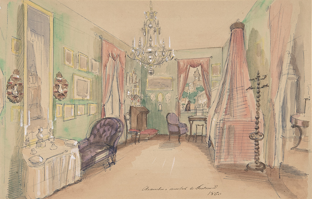 Drawing of a bedroom, 1857. The Metropolitan Museum of Art, Purchase, Anne and Carl Stern Gift, 1972.
