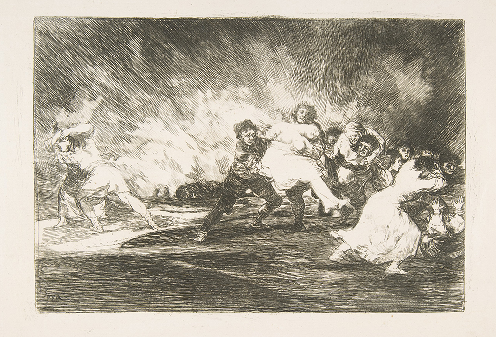 """They Escape Through the Flames,"" plate 41 from ""The Disasters of War,"" by Goya, 1810. The Metropolitan Museum of Art, Harris Brisbane Dick Fund, 1932."
