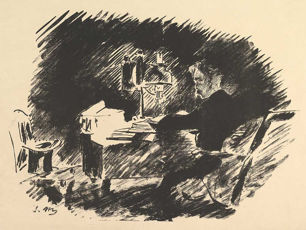 """Once Upon a Midnight Dreary, illustration of Edgar Allan Poe's """"The Raven,"""" by Edouard Manet, 1875."""