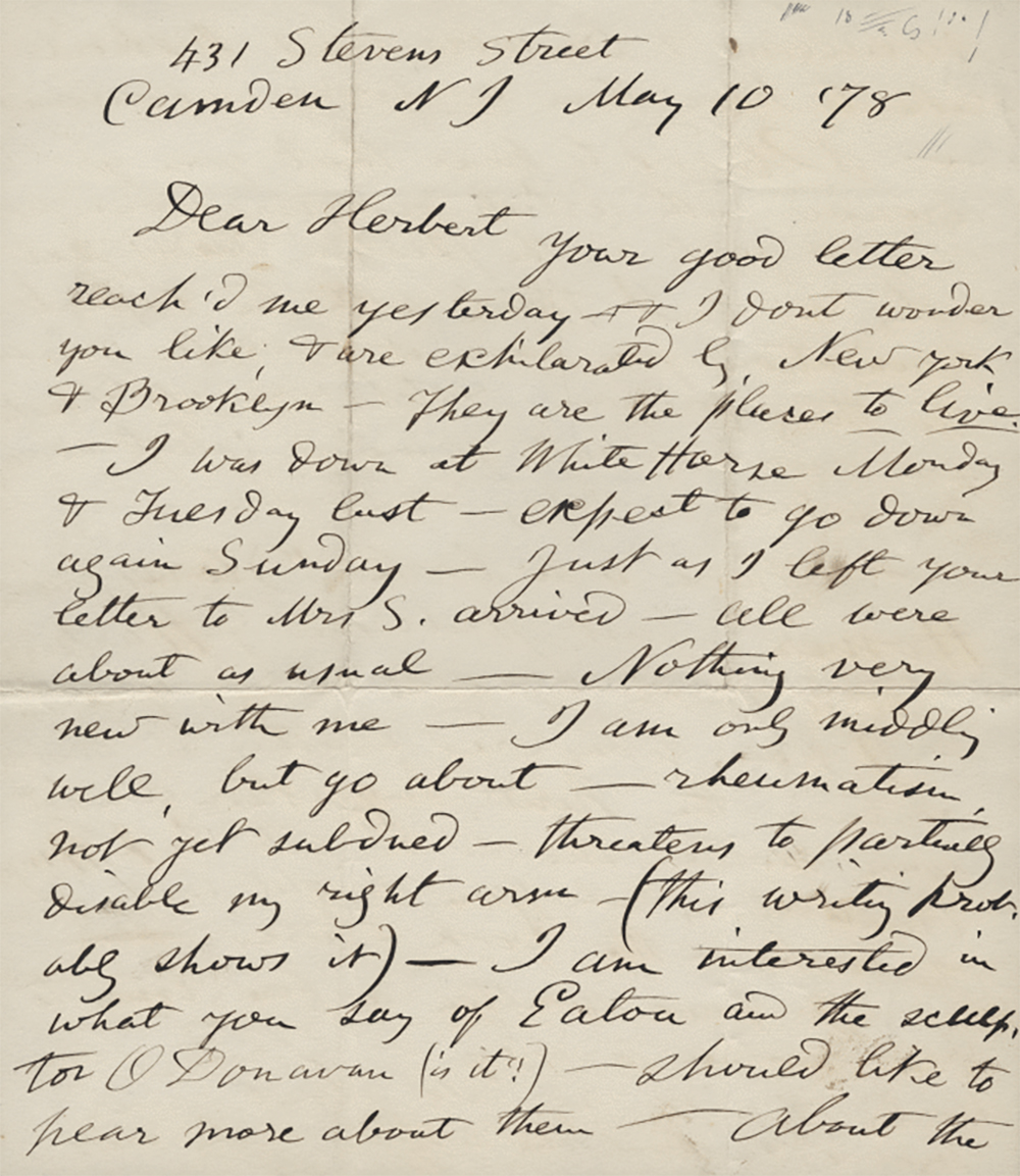 Letter from Walt Whitman to Herbert Gilchrist, 1878. University of Pennsylvania, Kislak Center for Special Collections, Rare Books, and Manuscripts.