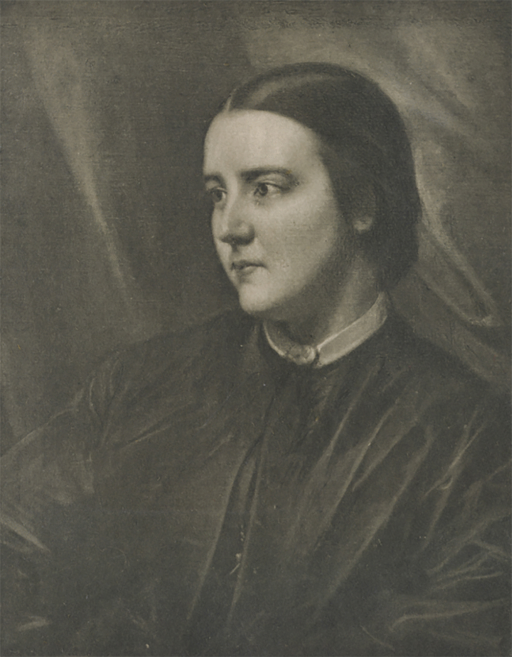 Dr. Jex-Blake's hair is parted down the middle and pulled back on both sides. She looks to the right with her mouth closed, unsmiling, her expression communicating determination and personal clarity. Sophia Jex-Blake, age twenty-five, by Samuel Laurence, 1865. Wikimedia Commons.