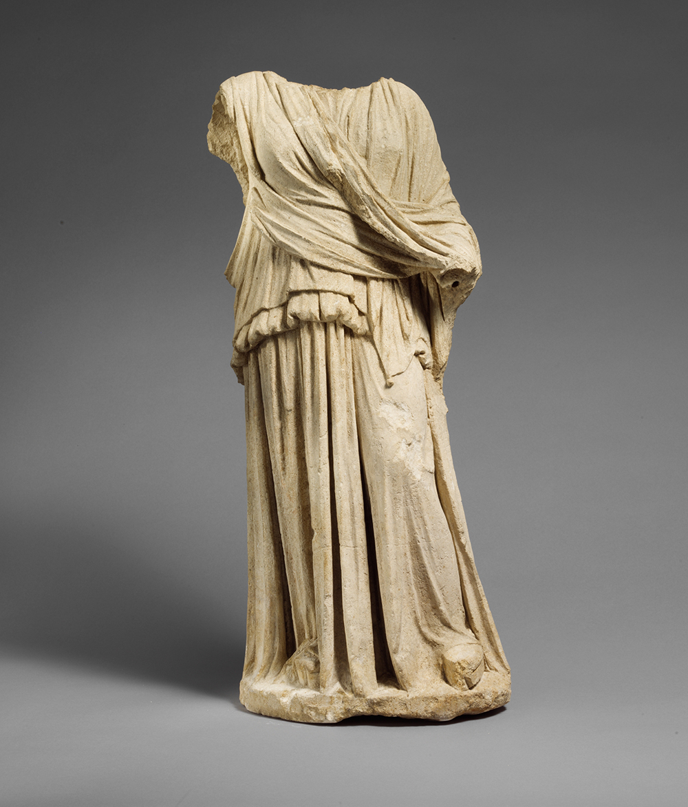 Limestone statue of Hera or Demeter, c. 330 BC. The Metropolitan Museum of Art, The Cesnola Collection, Purchased by subscription, 1874–76.