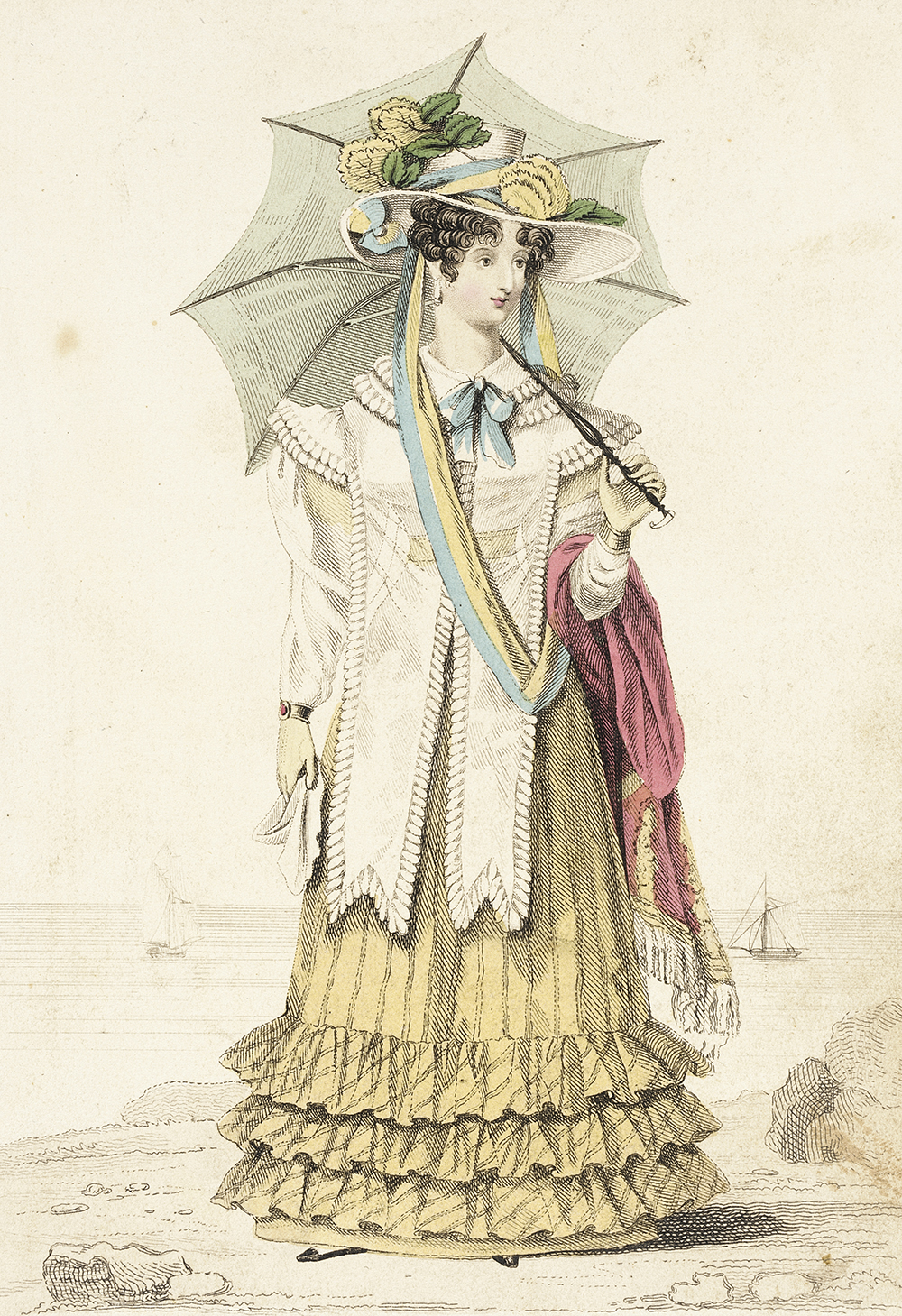 """""""Sea Side Dress"""" fashion plate for La Belle Assemblée, by G.B. Whittaker, 1826. Los Angeles County Museum of Art, Gift of Dr. and Mrs. Gerald Labiner."""