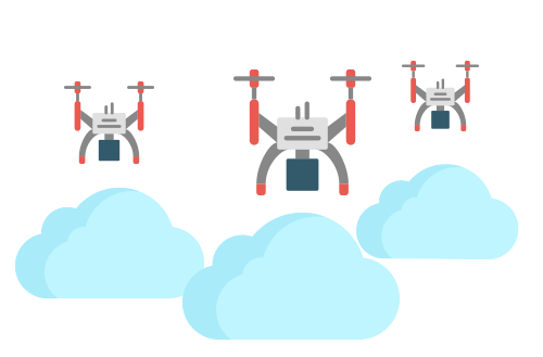Three drones above three clouds