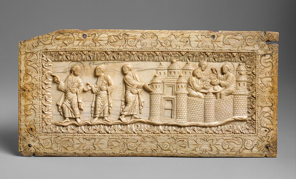 Plaque with scenes at Amwas, Carolingian, c. 850.