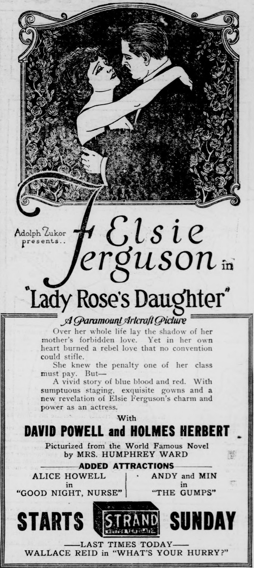 A newspaper advertisement for the film Lady Rose's Daughter. A drawing of a man and a woman embracing below which it reads, in large text, Elsie Ferguson in Lady Rose's Daughter.