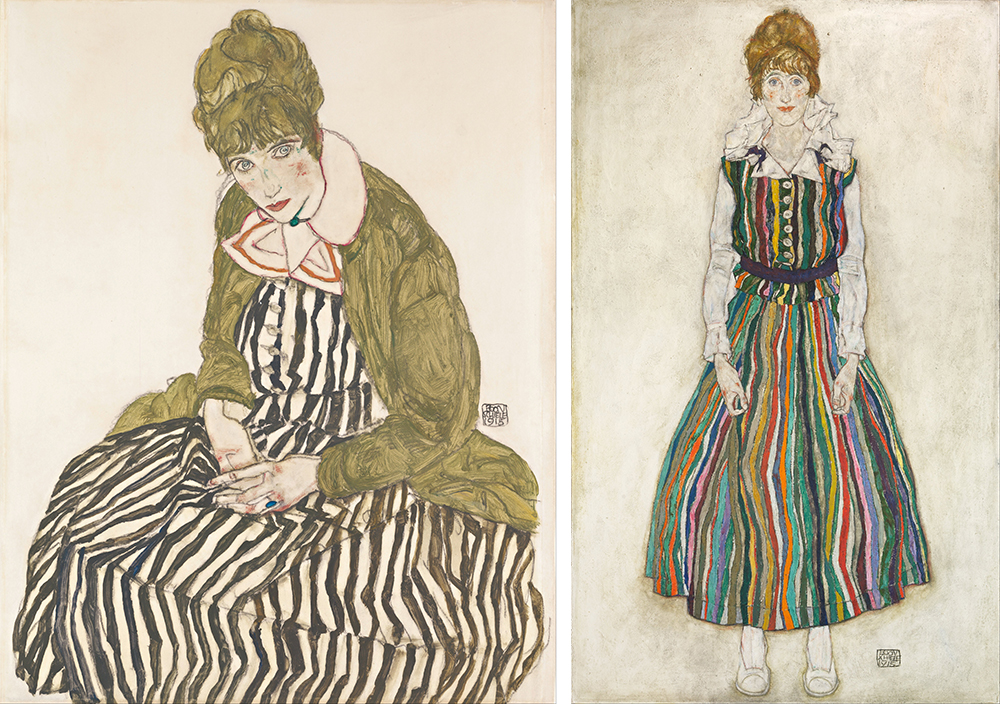 Left: Edith with Striped Dress, Sitting, by Egon Schiele, 1915. Right: Portrait of the Artist's Wife, Standing (Edith Schiele in Striped Dress), by Egon Schiele, 1915.