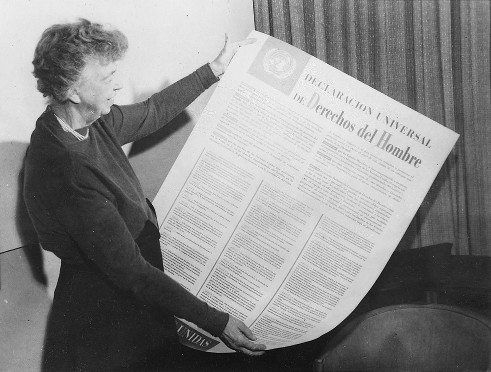 Eleanor Roosevelt holding the UN Universal Declaration of Human Rights in Spanish, 1949. National Archives and Records Administration, Franklin D. Roosevelt Library.