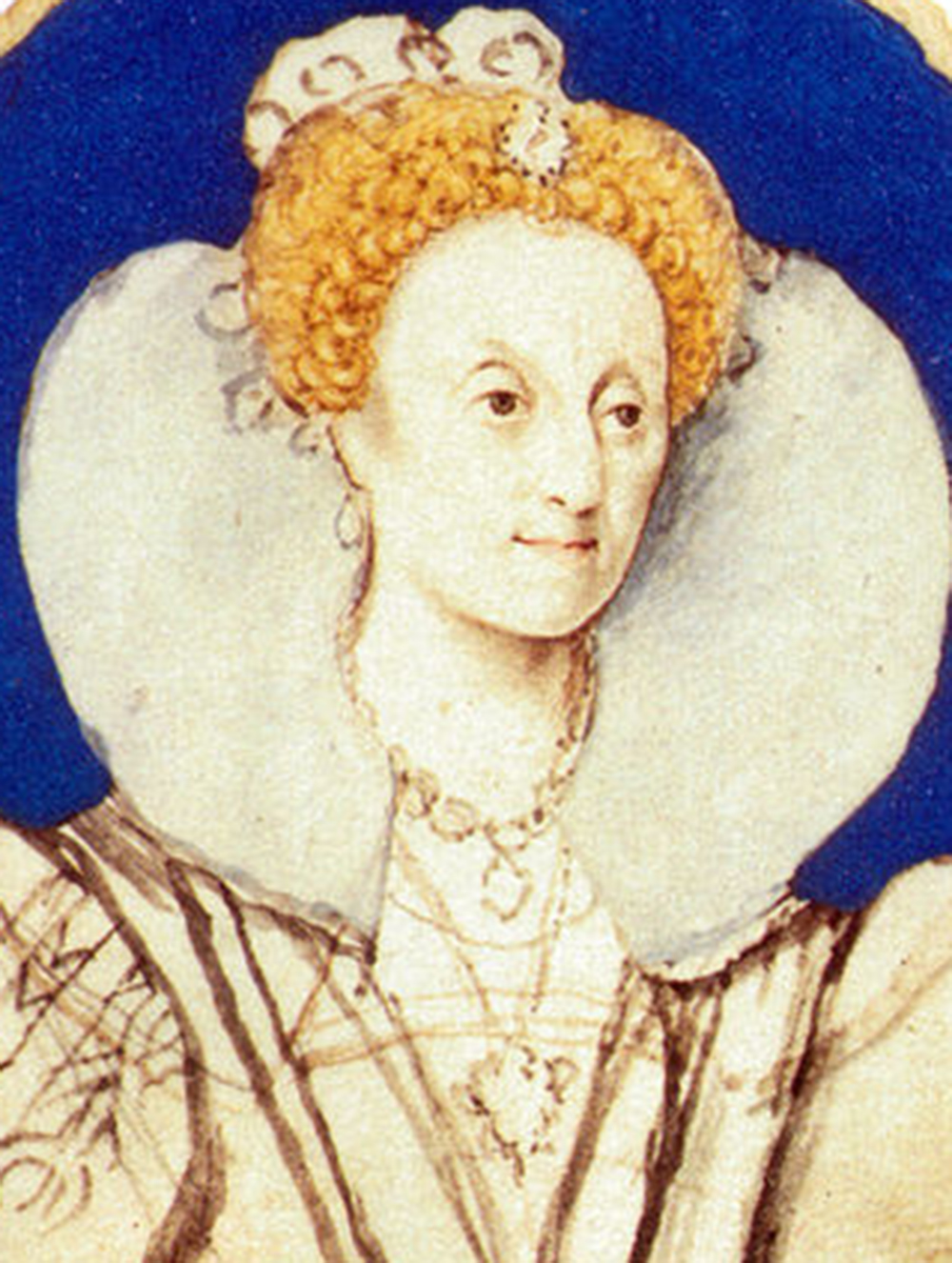 Unfinished portrait of Queen Elizabeth I, age sixty, by Isaac Oliver, 1592.