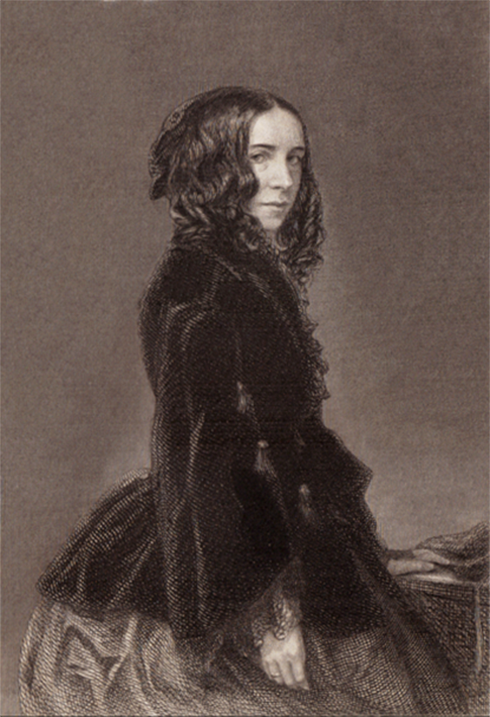Elizabeth Barrett Browning, by Macaire Havre, engraving by T.O. Barlow, 1859.