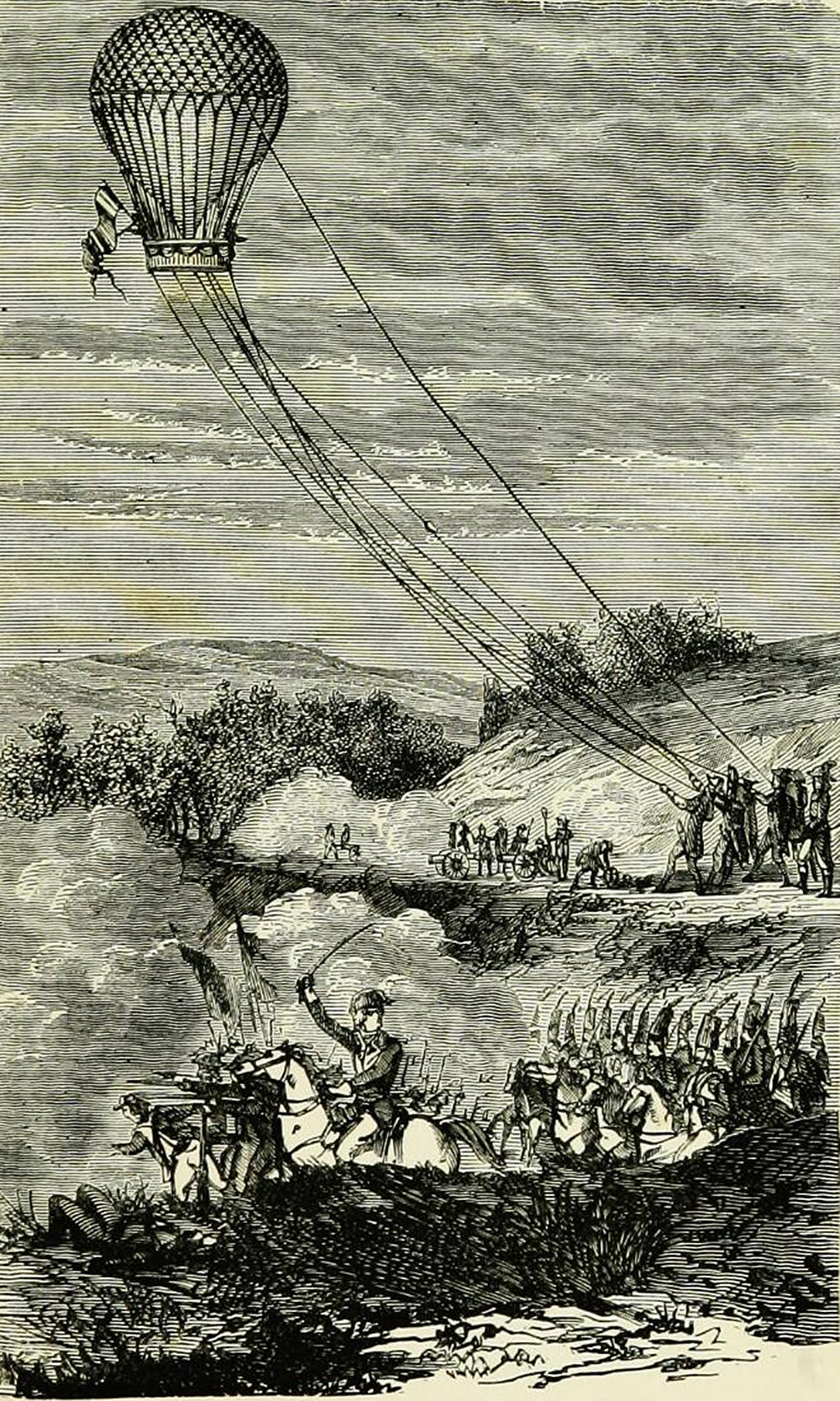 """Employment of balloon at the Battle of Fleurus, illustration from """"Wonderful balloon ascents: or, the conquest of the skies; a history of balloons and balloon voyages,"""" 1888. Wellcome Collection."""