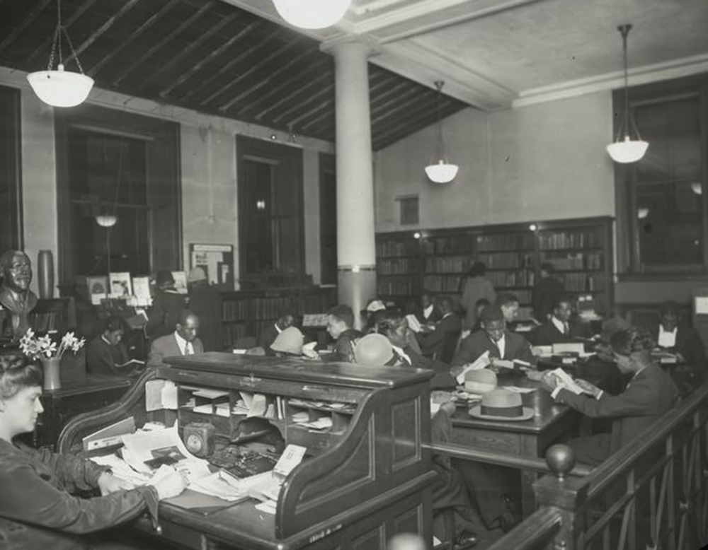 Miss Ernestine Rose at the 135th Street Library. The New York Public Library.