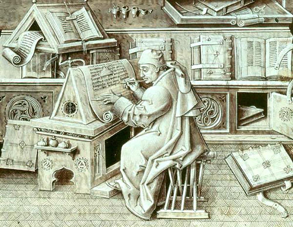 Jean Miélot, by Jean Le Tavernier, c. 1492. Wikimedia Commons.
