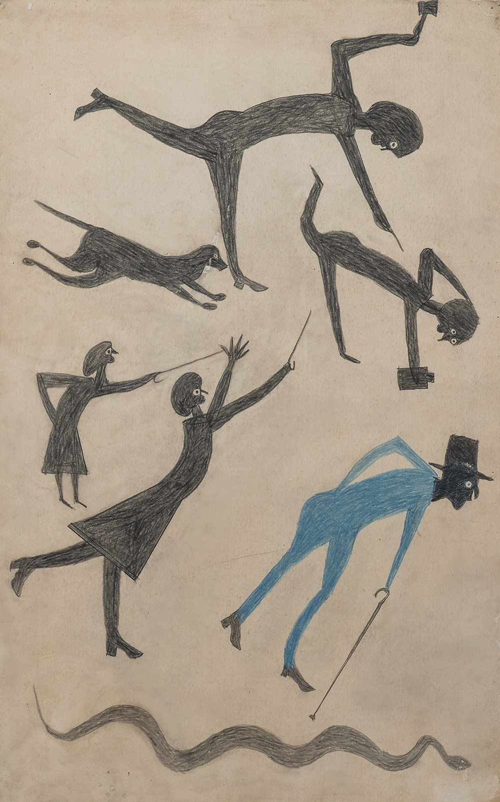 Untitled (Event with Man in Blue and Snake), by Bill Traylor, 1939. Collection of Penny and Allan Katz. Photograph by Gavin Ashworth.