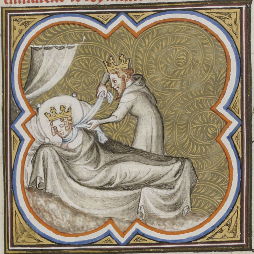 "Strangling of Galswinthe by Chilperic, from the ""Great Chronicles of France,"" c. 1375. Gallica Digital Library."