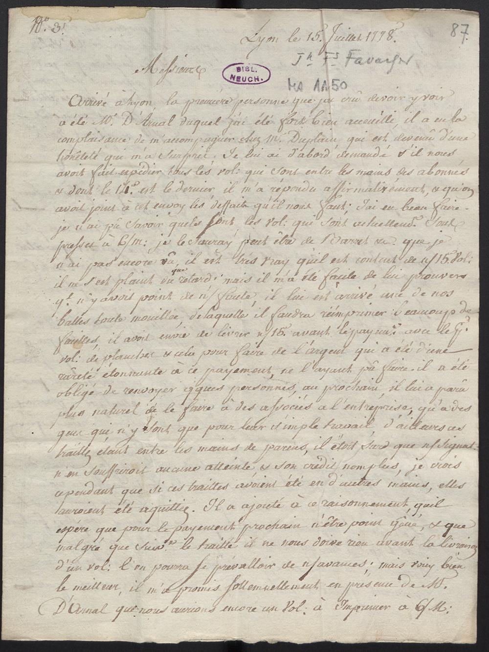 First page of a letter from Jean-François Favarger, sent from Lyon on July 15, 1778. Bibliothèque Publique et Universitaire de Neuchâtel.