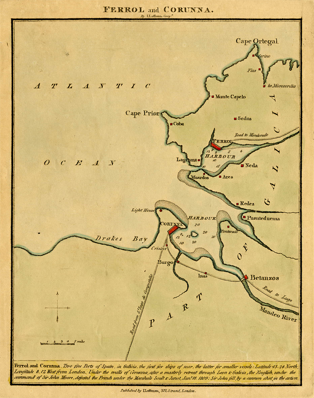 Map of part of Galicia showing the harbors of Ferrol and Corruna, by John Luffman, c. 1809. © The Trustees of the British Museum.