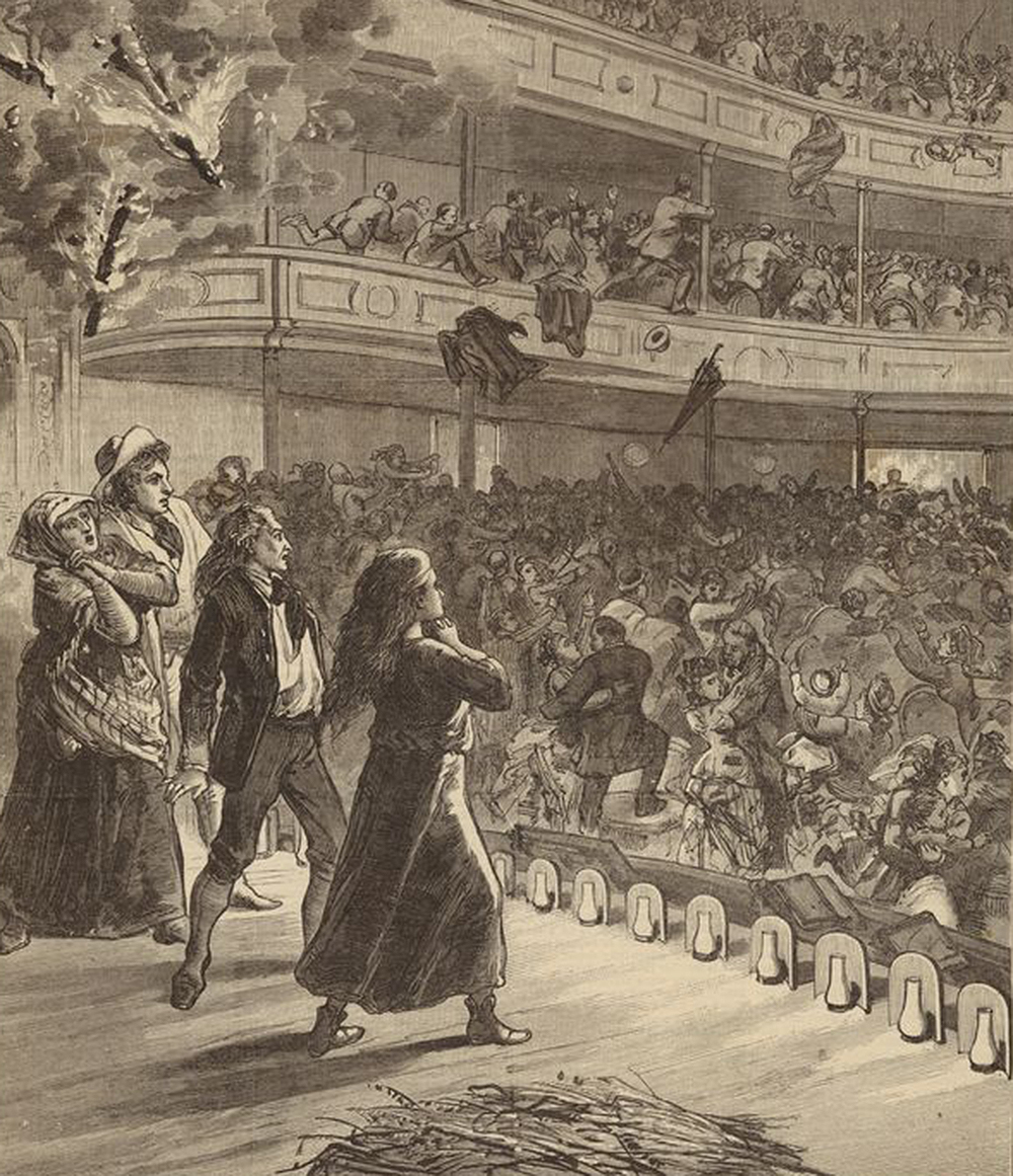 Illustration of the burning of the Brooklyn Theater, 1876. The New York Public Library, The Miriam and Ira D. Wallach Division of Art, Prints and Photographs.
