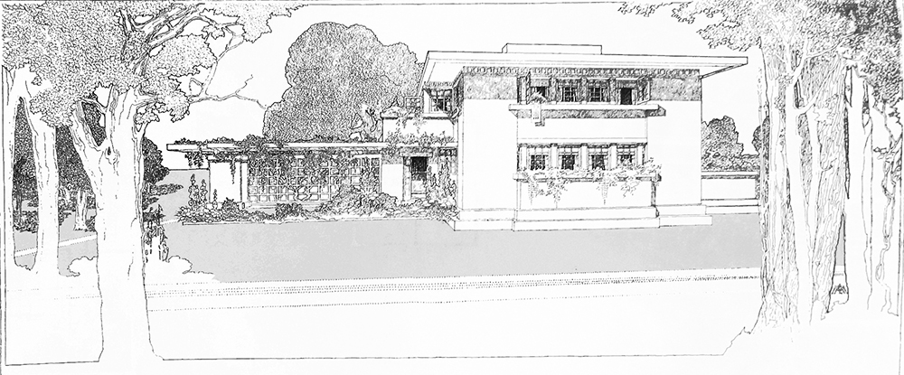 """""""A Fireproof House for $5,000,"""" illustration by Frank Lloyd Wright in Ladies' Home Journal, 1907. Wikimedia Commons."""