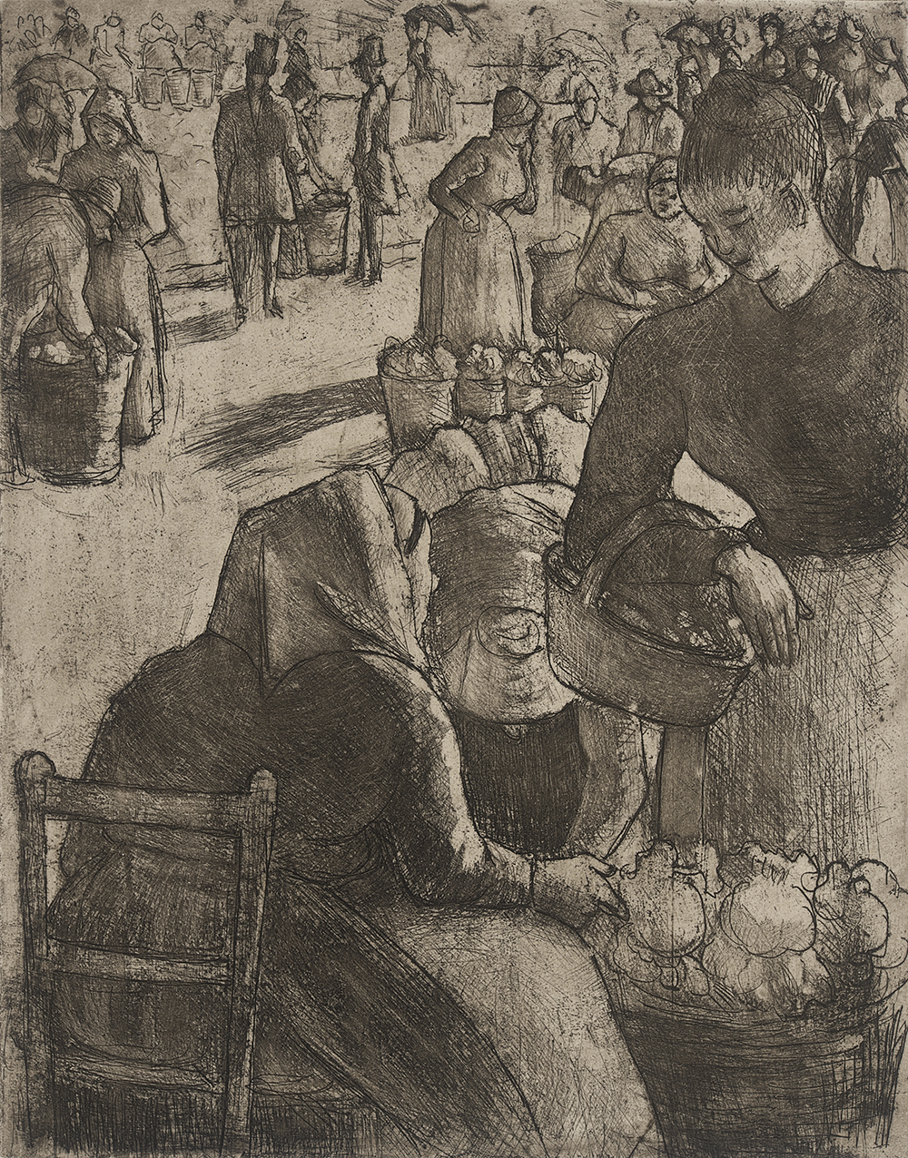 Marché aux Legumes à Pointoise, by Camille Pissarro, 1891. Los Angeles County Museum of Art, Gift of Gene Gill.