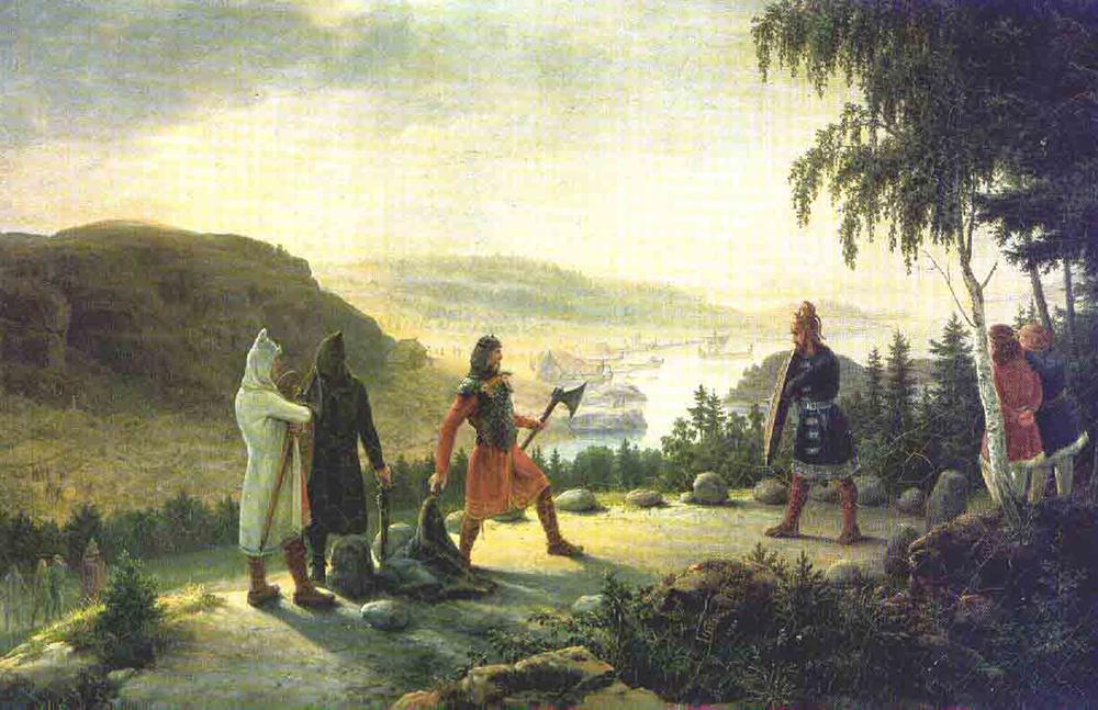 """""""Egill Skallagrímsson Engaging in Holmgang with Berg-Önundr,"""" by Johannes Flintoe, c. 1800–1870."""